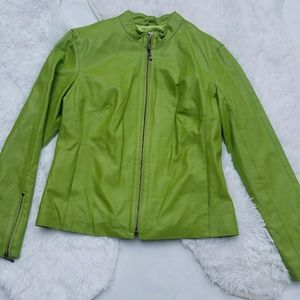 AMI Green Leather Jacket Size Medium Pockets